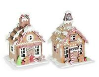 Christmas Resin LED Traditional Gingerbread Holiday Houses w/ Frosting