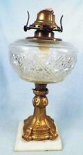 Antique Kerosene Lamp Composite Metal Marble Early American Pattern Glass