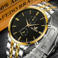 Reloj de Pulsera para hombres Relojes de Pulsera a Cuarzo Analógico Acero Inoxidable Oro Plata