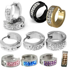 PAIR Cuff Huggie Hoop Earrings Surgical Stainless Steel Crystal MENS WOMENS