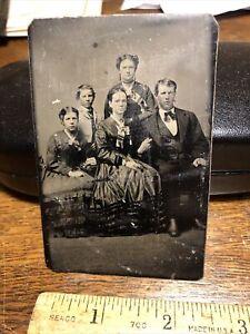 Antique Civil War Era Victorian Family Tintype   Photo Photograph Vintage