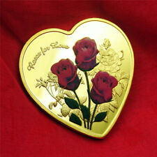 LOVE Rose Metal Commemorative Coin Collection Crafts Gifts-Gold-NEW