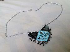 Sterling Silver Turquoise Blue & Black Enamel Necklace