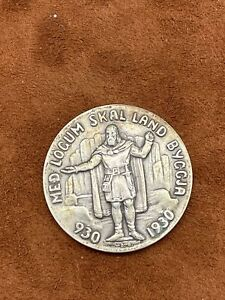 1930 Iceland 1000 Year Althing 5 Kronur Silver Nice Collectors Coin