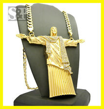 "Iced Out Hip Hop Big Open Arm Jesus Whole Body Pendant w/ 9mm 30"" Chain Necklace"