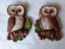 Set of 2 Homco Hoda Owl Wall Art Plaque 1979 #4570-L