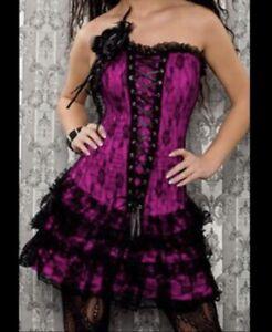 Brand New-Burlesque Gothic Corset Dress Tie Dress Goth Lace Short