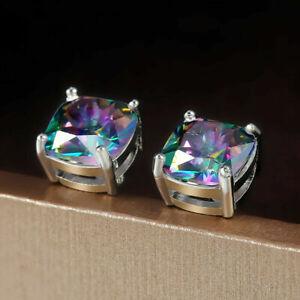 4 Colors Stud Earrings Women 925 Silver Jewelry Cubic Zircon A Pair/set