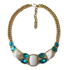 YSL YVES SAINT LAURENT Vintage Gold Bib Necklace with Blue Rhinestones