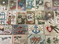 Antique Estate Lot of 25 Early 1900s New Year Holiday Postcards-in Sleeves-a876