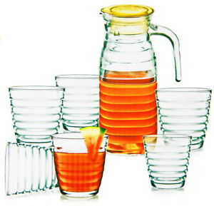 Saftkrug mit 6 Gläsern Glaskrug Wasserkrug Bistro Krug Milchkrug Weinkaraffe