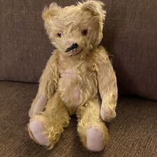 """Antique Jointed Straw Filled Mohair Teddy Bear Vintage Glass Eyes Well Loved 14"""""""