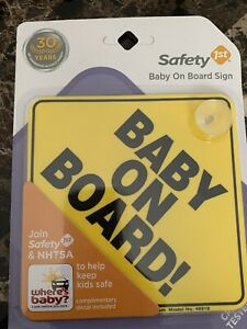 "Safety 1st ""Baby On Board!"" Sign Crash Tested New in package"