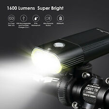 LED BIKE 1600lm CREE USB Front Bicycle Headlight Remote Hi Beam Power Pack