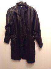 Ladies Size 12-14 Long ( Knee Length) Black Vintage Soft Real Leather Jacket L