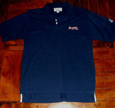 Atlanta Braves Embroidered Stater Polo Style Shirt Size Medium Tomahawk Casual