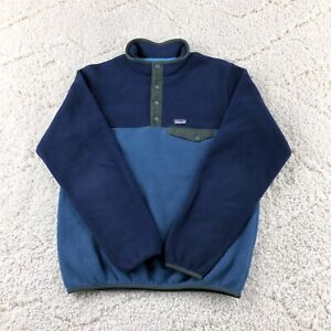 Patagonia Synchilla Boys XXL 16-18 Blue Red Fleece Pullover Sweater Outerwear