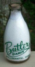 Butler Dairy Milk Bottle Willimantic, Ct Conn