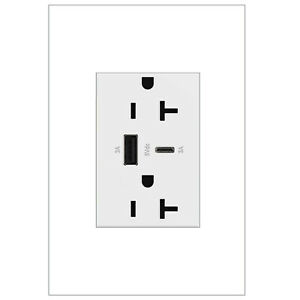 adorne Dual-USB, 20A, Ultra-Fast Charge, 6 Amp, Type A/C, USB, Hybrid Outlet,