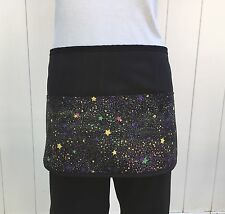 Black Galaxy Glitter Space server waitress waist apron 3 pockets restaurant