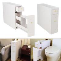 White Bathroom Cabinet Toilet Paper Roll Holder Slimline Storage Cupboard uk