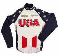 Bio Racer USA Cycling Team Stars & Stripes Flag Jersey Long Sleeve Shirt 1 XS