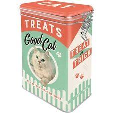 Retro TREATS GOOD CAT Clip Top 3D STORAGE TIN Cookie Jar Cat Food