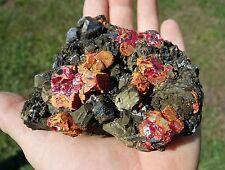 Crimson RED Realgar on Galena Pyrite Sphalerite Point Peru HUARON Quartz Points