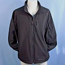 Free Country Mens L Black Soft Shell Ski Jacket Full Zip Wind Water Resistant