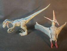 Jurassic World Park Pteranodon vs Helicopter Flying Dinosaur Blue Raptor Lot