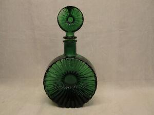 """Empoli Italian Art Glass 11"""" tall Starburst Flower Patterned Decanter Green MCM"""