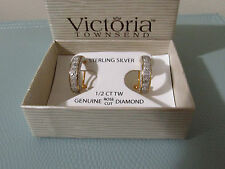 1/2 CT ROSE CUT PAVE DIAMOND EARRINGS  VICTORIA TOWNSEND 18k Gold over Sterling
