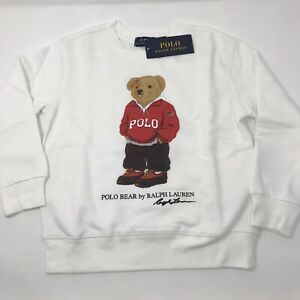 Polo Ralph Lauren Boys White Fleece Sweatshirt Polo Bear S (8), M (10-12)