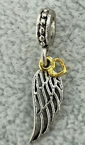 Authentic Pandora SSP Angel Wing with Gold Plated Heart Charm Dangle Bead Collec
