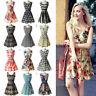 Women Summer Beach Chiffon Mini Dress Sleeveless OL Floral Tank Sundress Pleated