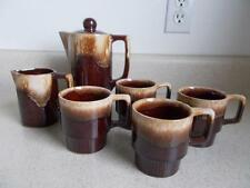 BROWN DRIP STACKING CUPS CREAMER TEAPOT COFFEE/CHOCOLATE POT set Japan vtg Mod
