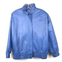 THE OLD MILL Women's Blue GENUINE LEATHER Zip Up Bomber Style Jacket Size XL