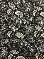 Black & White Paisley 100% Viscose Summer Printed Dress Fabric.