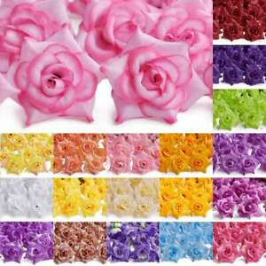 50pcs Artificial Curling Rose Flower Heads 50mm Wedding Party Decor Lots IFHS7