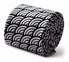 Frederick Thomas Mens 100% coton cravate en noir et Blanc Rainbow Design ft3383