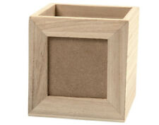 10cm Square Wooden Desk Tidy Pencil Holder with Photo Insert for Crafts