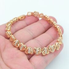 18K Yellow Gold Filled Clear Topaz Zircon Women Love Hearts Bracelet Jewelry