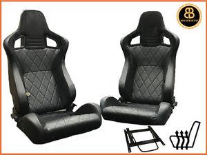 BB6 HEATED Bucket Seats Black / Alcantara + Adaptor Plates LANDROVER DEFENDER