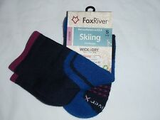 FOX RIVER SKIING MID WEIGHT WICK DRY ACTIVA SKI SOCK SMALL WOMEN'S 1-5.5 Blue