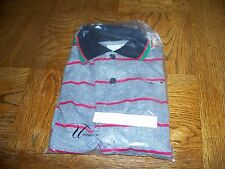 New UTY International Uniform Men's Golf Shirt Size S  Striped Cotton Blend