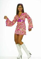 Womens 70's Flower Power Dress Hippie Disco Costume 60's Mod Adult Size M/L