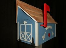 Amish Handmade Handcrafted Rural Mailbox w Flag USPS Lt Blue / White Welcome