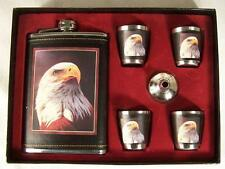 EAGLE HEAD FLASK GIFT SET four shot glasses funnel DRINKING HIP whisky LIQUOR