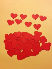 50 Red Valentine hearts, wedding crafts, scrapbooking table confetti decorations