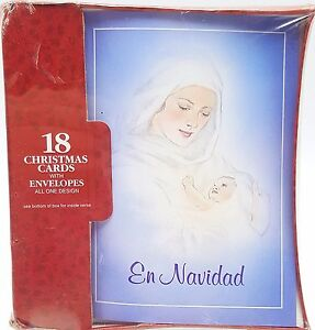 Christmas Holiday Cards Espanol On Navidad Mary Baby Jesus Design 18 count New